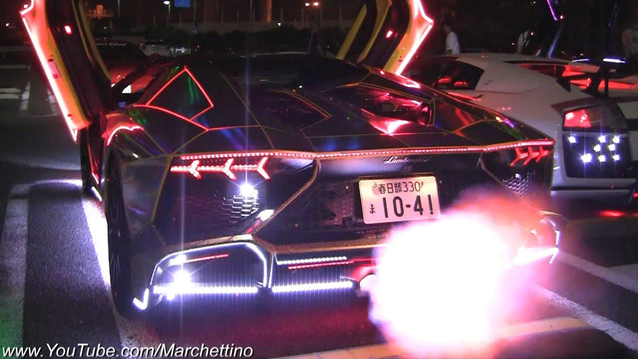 Crazy Hologram Bosozoku Aventador W Neon Amp Mods Youtube