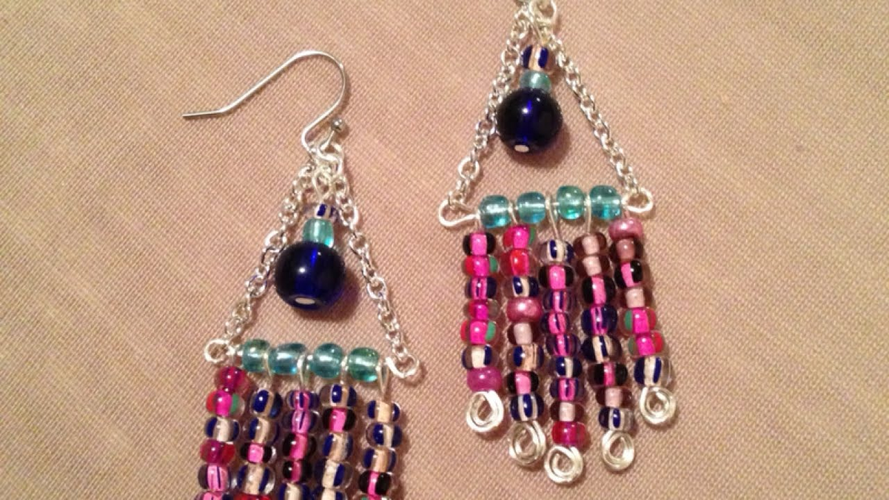 How To Make Colorful Wire Chandelier Earrings Diy Style Tutorial Guidecentral You