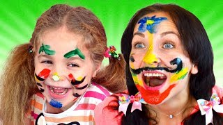 Face Painting - Finger Family Song | Drawing for kids easy