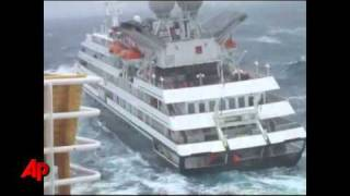 Raw Video: Limping Ship Hits High Waves