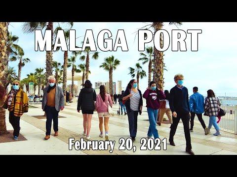 Malaga Port Walking Tour in February 2021, Costa del Sol, Spain [4K]