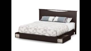 South Shore Step One Platform Bed With Drawers, King, Chocolate