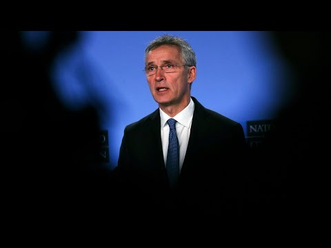 NATO's Jens Stoltenberg makes remarks at NATO's alliance Ground Surveillance aircraft