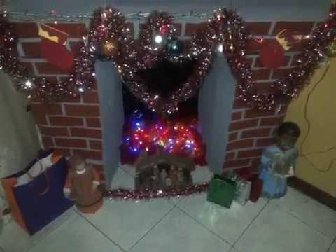 Como hacer un chimenea reciclaje navide o creatividad - Como construir una chimenea ...