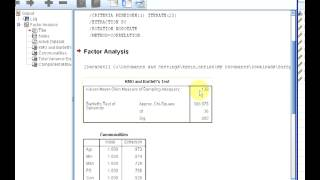 SPSS PCA (Part 1 KMO Measure and Bartlett Test for Sphericity)