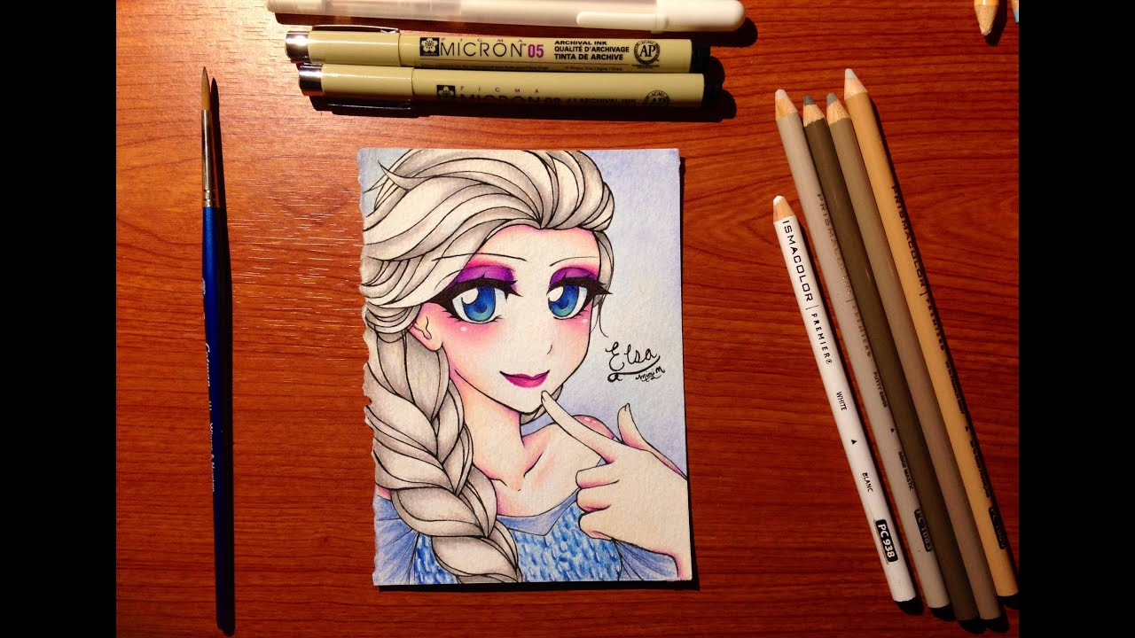 Manga drawing elsa from frozen watercolor colored pencil youtube