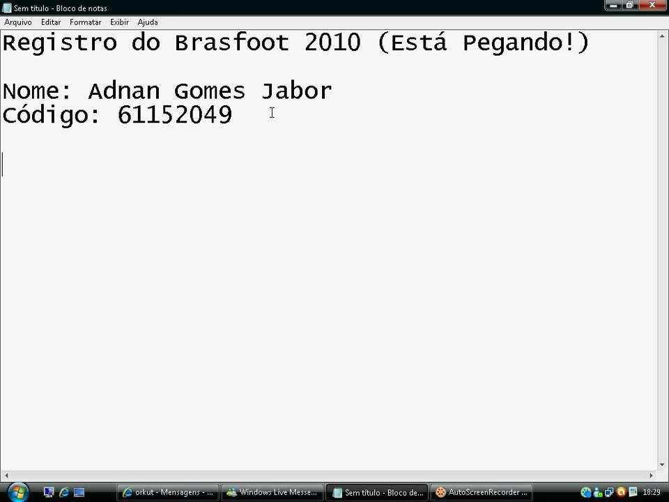 brasfoot 2010 registrado para