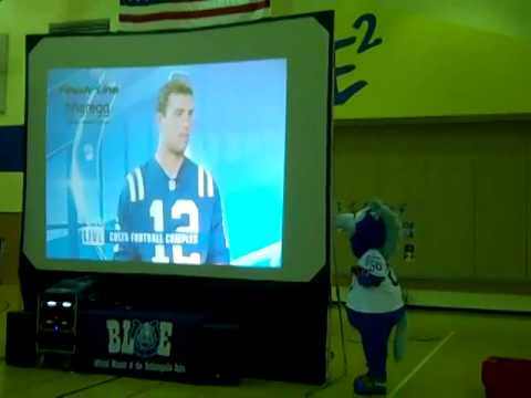 """Blue"" the Indianapolis Colts Mascot Visits E2 on  11-24-14"