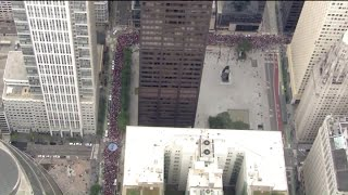Thousands of striking teachers march through downtown Chicago