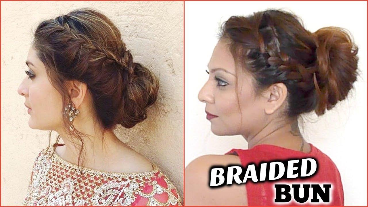 side braid updo hairstyle tutorial │easy kareena kapoor messy braided bun  │indian hair style