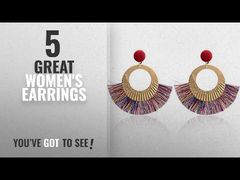 10 Best Organizer Earrings [2018]: Hatoys Openwork Tassel Dangle Stud Earrings Jewelry (Multicolor)