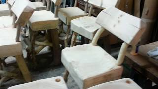 Log bar stool, cutting legs all the same length