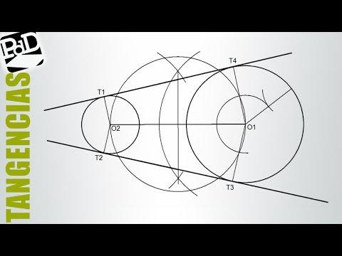 Trazar las rectas tangentes exteriores a dos circunferencias (Tangencias).