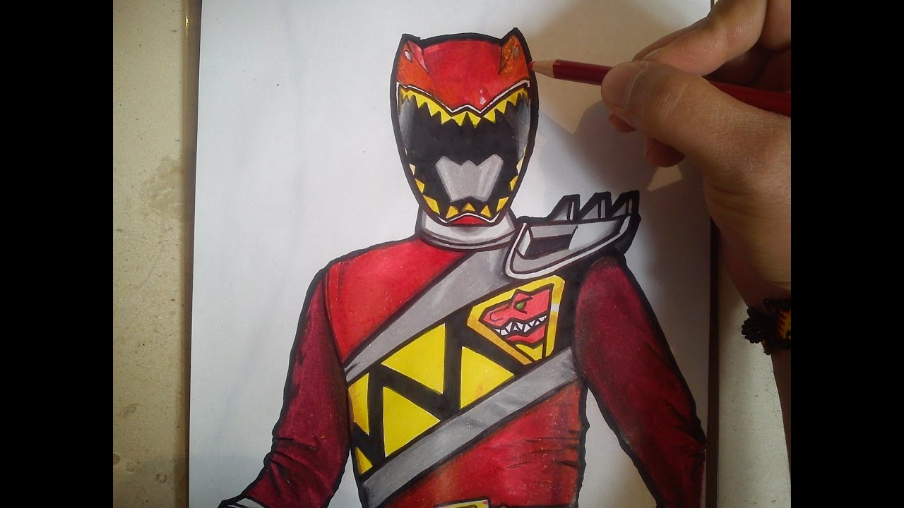 HOW TO DRAW POWER RANGER DINO CHARGE RED / como dibujar ...