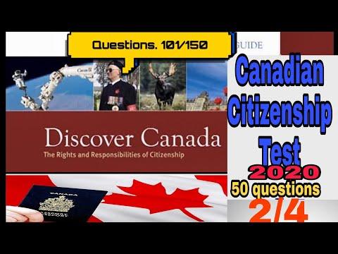 Canadian citizenship test 2020 part(2/4)(Question 101-150)