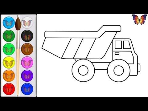 Как нарисовать МАШИНУ ГРУЗОВИК / мультик раскраска ГРУЗОВИК для детей / Раскраски малышам