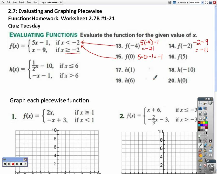 Honors Algebra 2 Piecewise Functions YouTube – Piecewise Functions Worksheets