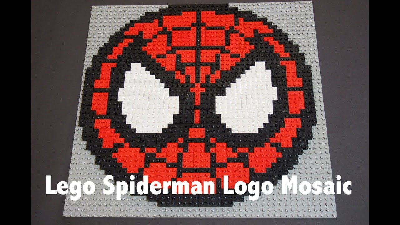 How To Build A Lego Mosaic Of Spiderman Logo Tutorial Youtube