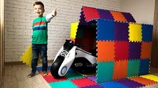 Гараж Дом из цветных пазлов для Мини Спортбайка. Видео для детей.