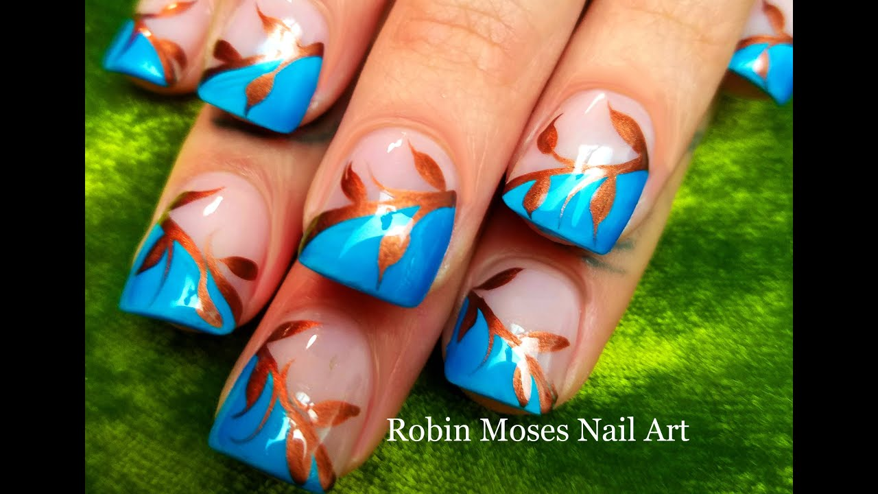 easy fall leaves nails diy autumn nail art design