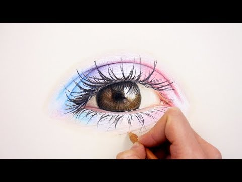 Drawing a realistic colorful eye with colored pencils on toned paper | Emmy Kalia