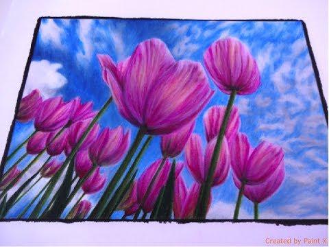 BEAUTIFUL NATURE grayscale | Tulips Part 2 | color TUTORIAL | Prismacolor