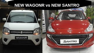 New WagonR vs New Santro  WalkAround Comparision 2019 || Interiors || Exteriors || Features || Specs