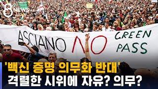 '백신 증명 의무화 반대' 격렬 시위…자유냐 의무냐 / SBS