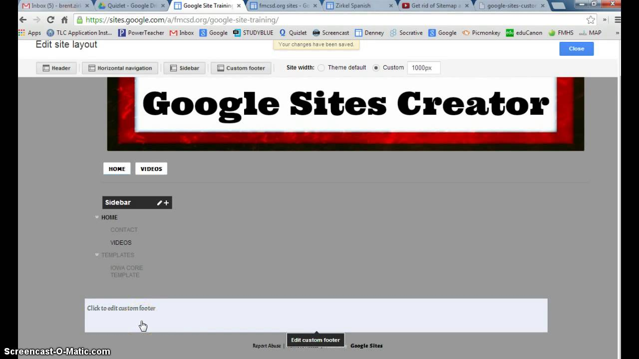 Insert a Custom Footer on Google Sites - YouTube