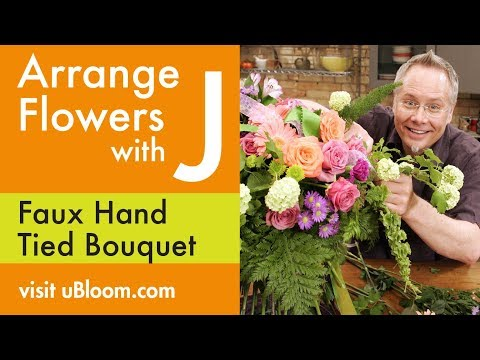 How To Arrange Flowers Faux Hand Tied Bouquet Youtube