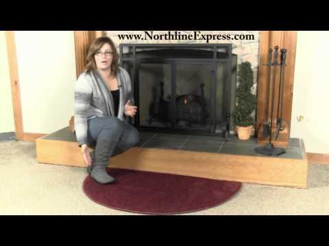 Flame 4' Half Round Crimson Fireplace Rug