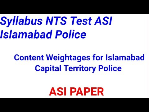 Syllabus NTS Test ASI Islamabad Police l Islamabad Capital