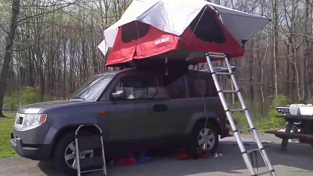 Yakima SkyRise 3 Roof Tent on a Honda Element & Yakima SkyRise 3 Roof Tent on a Honda Element - YouTube