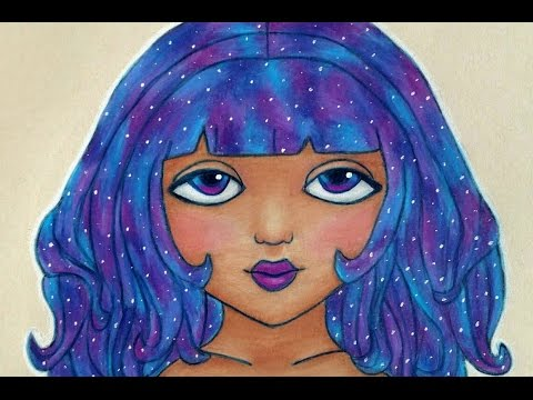 galaxy hair colored pencil drawing
