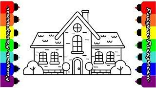 Как рисовать Дом Рисуем Раскраски для детей How to draw House Draw coloring Pages for kids