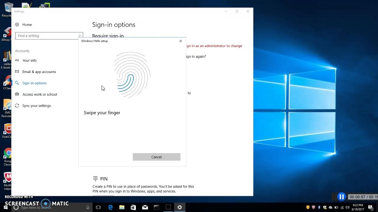 Windows 10: Setup login with fingerprint or PIN