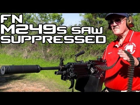 Suppressed FN SAW M249S with Jerry Miculek! | Super SlowMo 4K 60P