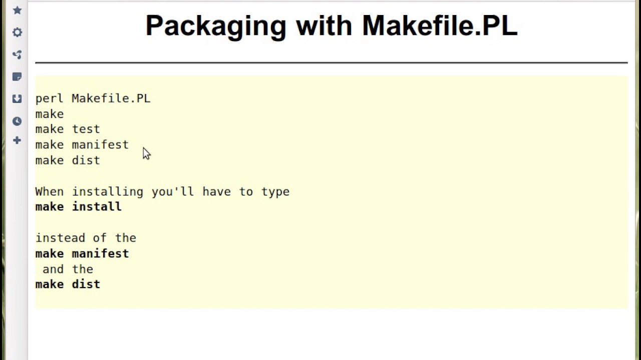 Packaging with Makefile PL