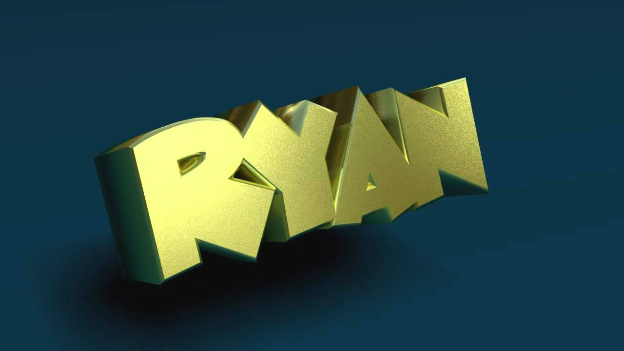 Ryan 3D Name Gold Spinning Text