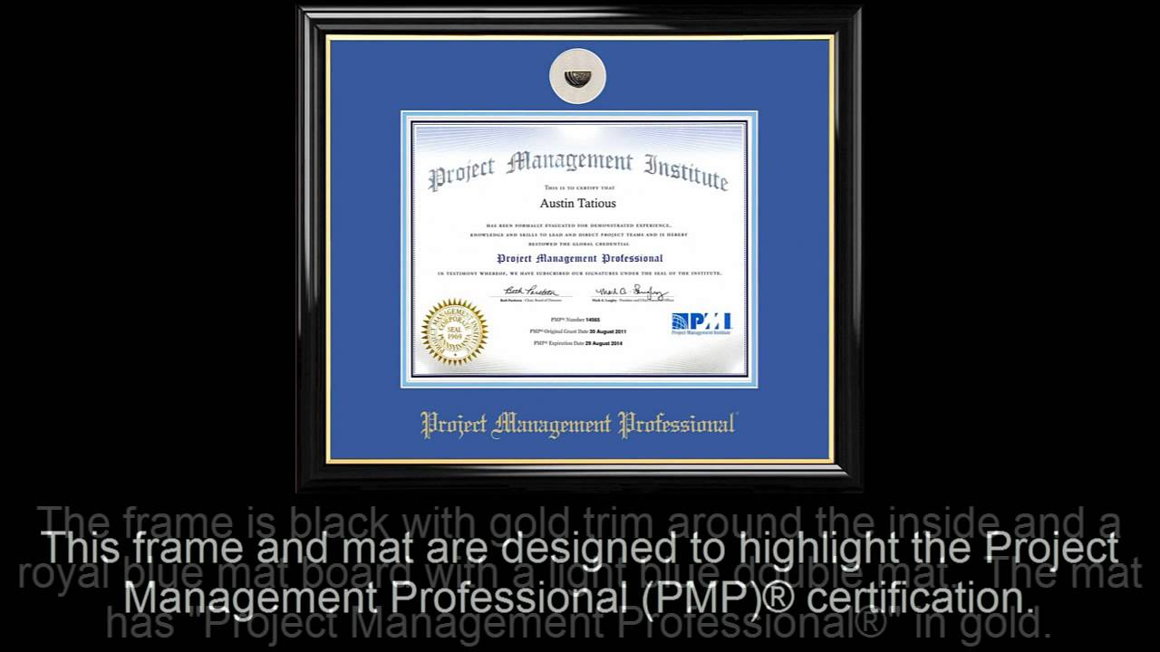Pmp Certificate Frame Black With Royal Mat Lapel Pin Opening