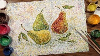 Speed Painting | Pears on a Table | Technique Pointillism | Gouache | IOTN