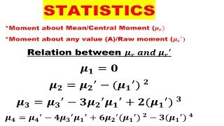 #01 Statistics | Moment about Mean in Hindi | Moment about any value | Central Moment |  kurtosis