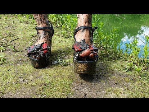wedges in mud, wedges sandals muddy, muddy shoes, high heels wedges in swamp (scene 238)