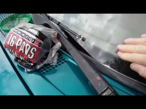 Steel wool and car wax on your car or truck windshield. Pretty neat trick.