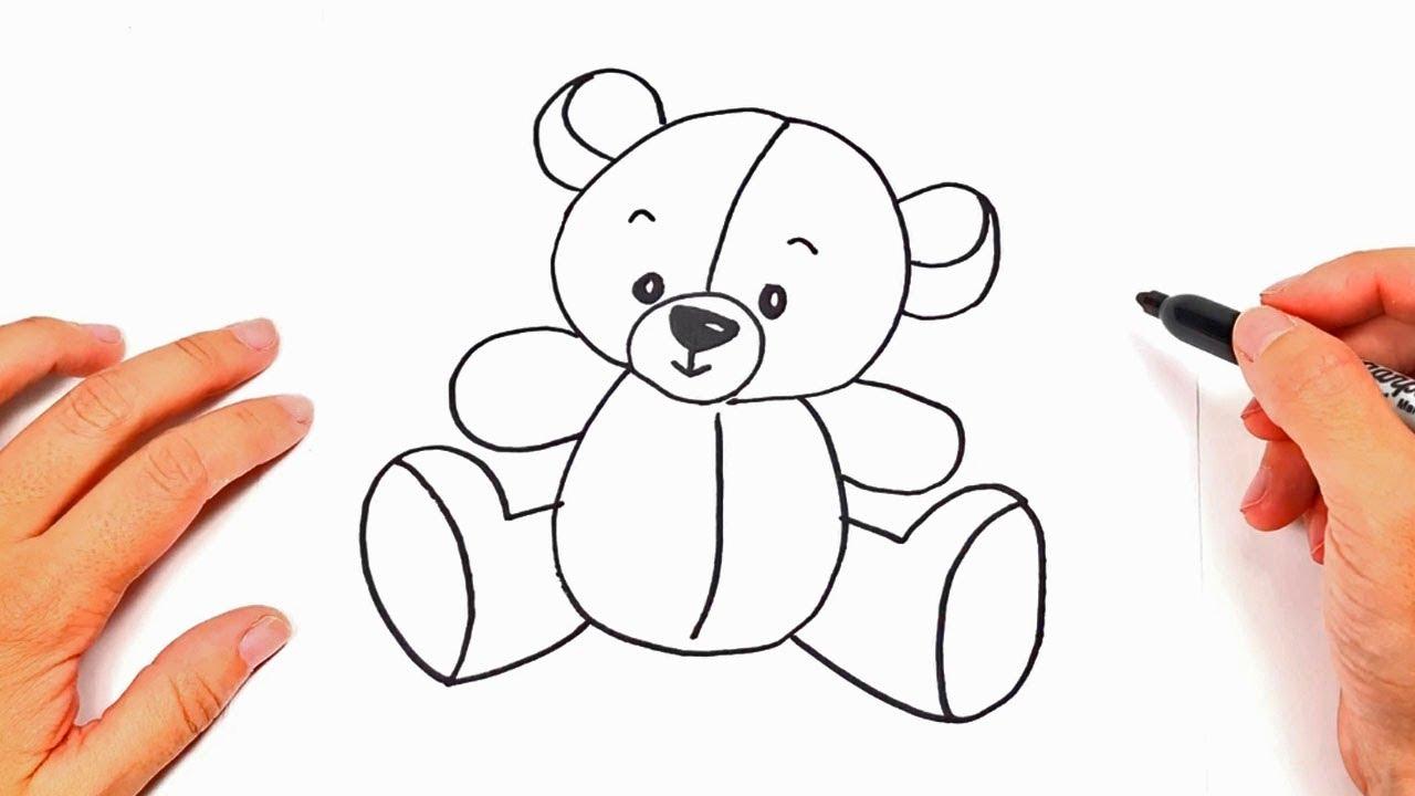 Como dibujar un osito de peluche dibujos infantiles - Dibujos pared habitacion infantil ...