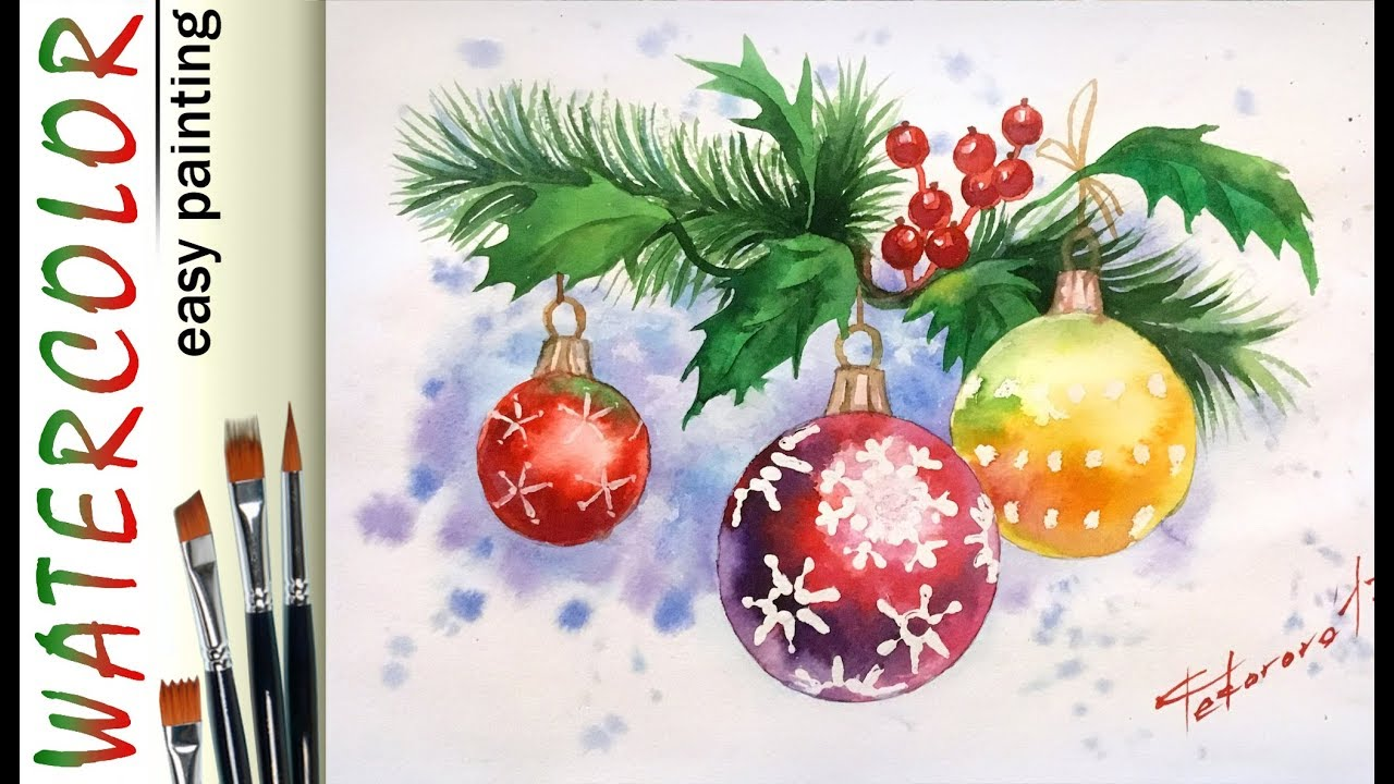 Christmas Holly Leaves How To Paint WATERCOLOR Tutorial For Beginners