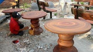 Techniques Build Concrete Table Wood imitation Beautiful // Traditional Techniques Craft Skills