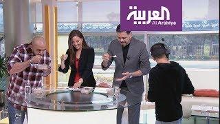 سحس يتحدى مقدم صباح العربية بالمعصوب