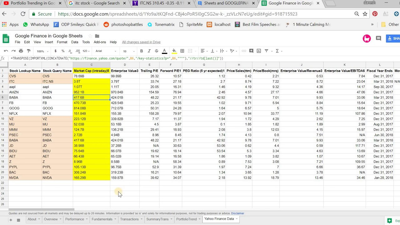 Get Yahoo Finance Data in Google Sheets