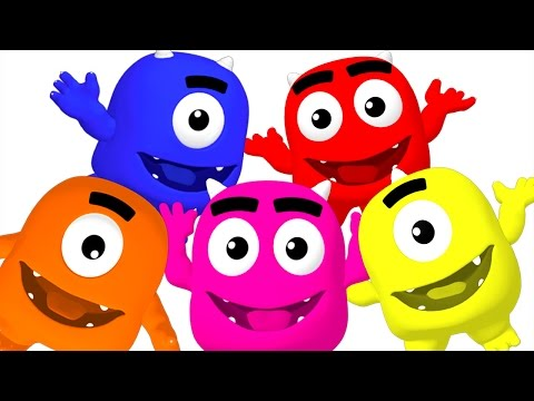 Five Little Monsters Collection | ABCs 123s Colors Surprise Eggs & Rhymes for Babies | Busy Beavers